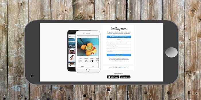 schermata di accesso ad instagram