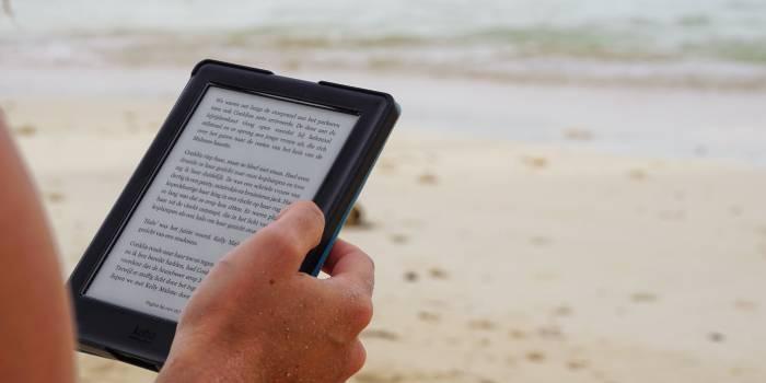 persona che legge un articolo sul tablet