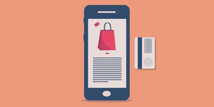 sfondo telefono con busta shopping